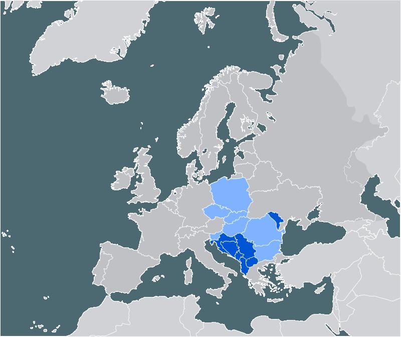 Statele membre CEFTA: albastru închis = membru actual albastru deschis = fost membru - foto: ro.wikipedia.org