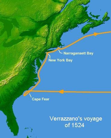 Verrazzano's voyage in 1524 - foto: en.wikipedia.org