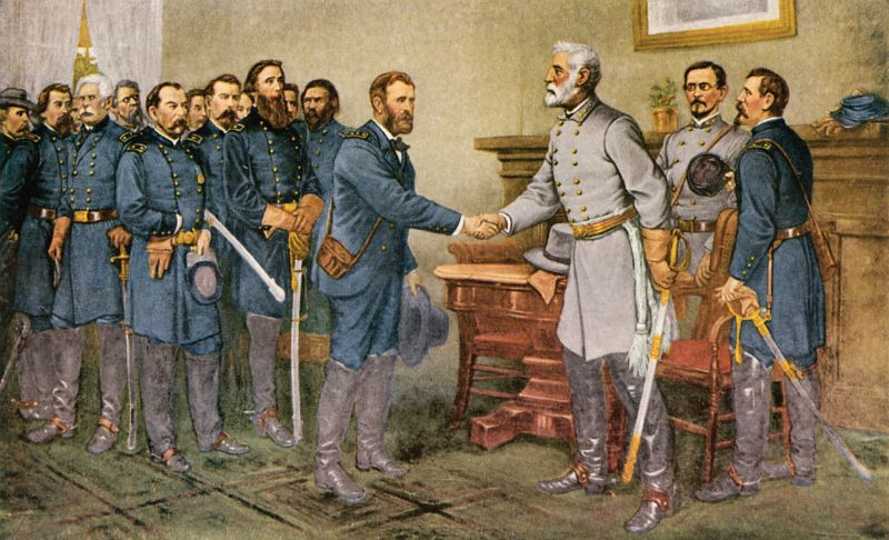 Lee's surrender 1865. 'Peace in Union.' The surrender of General Lee to General Grant at Appomattox Court House, Virginia, 9 April 1865. Reproduction of a painting by Thomas Nast - foto: en.wikipedia.org