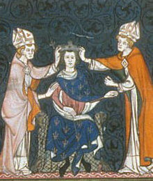 Ludovic al II-lea cel Gângav (fr. Louis II le Bègue) (n. 846, Compiègne — d. 10 aprilie 879, Compiègne)a fost regele Franței între 877–879, conte de Autun între 866–867, precum și rege al Aquitaniei între 867–879 - in imagine, 14th-century depiction of Louis's coronation - foto: en.wikipedia.org