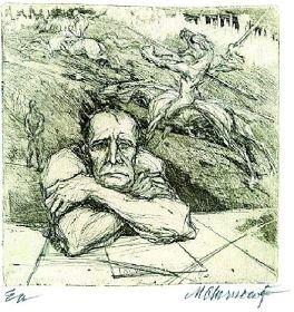"""Marcel Chirnoagă (n. 17 august 1930, Buşteni, judeţul Prahova - d. 23 aprilie 2008) a fost un artist plastic român complet, absolvent al Facultăţii de matematică şi fizică din Bucureşti, 1952, urmând simultan şi studii liberale de artă, membru al Uniunii Artiştilor Plastici din România din 1953 - in imagine, Marcel Chirnoagă, """"Autoportret"""" - foto: ro.wikipedia.org"""