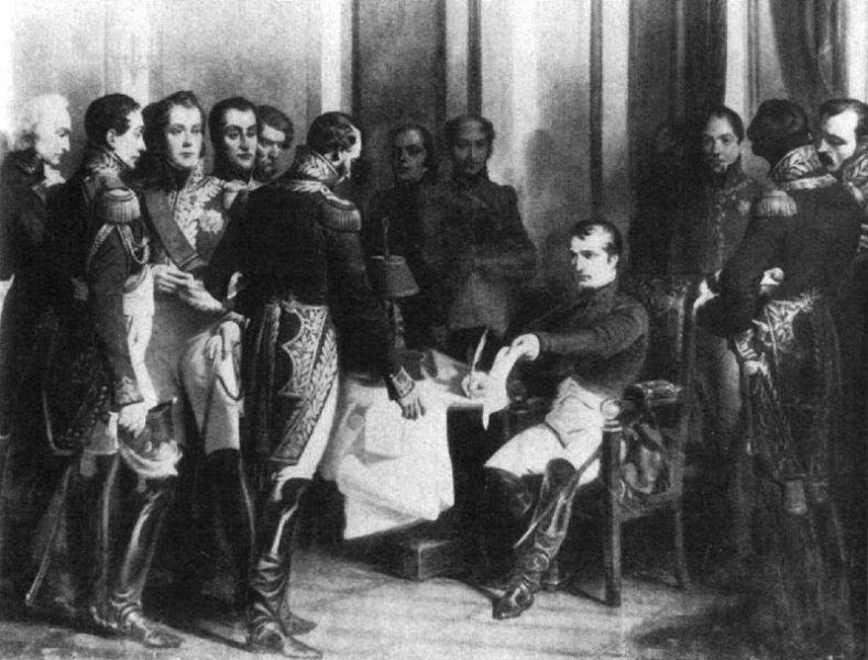 """""""Abdicarea de la Fontainebleau"""" - (Momentul semnării primei abdicări a Împăratului Napoleon - 6 aprilie 1814) - foto: ro.wikipedia.org"""
