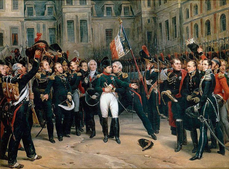 Cuvintele de adio ale lui Napoleon către Garda Imperială, în curtea castelului de la Fontainebleau - foto: ro.wikipedia.org