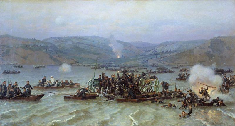 Războiul Ruso-Turc (1877–1878) - Ruşii trecând dunărea, Nikolai Dmitriev-Orenburgski, 1883 - foto preluat de pe ro.wikipedia.org