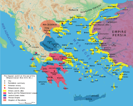 Map of the nations during the start of the Peloponnesian War around 431 BC - foto: ro.wikipedia.org