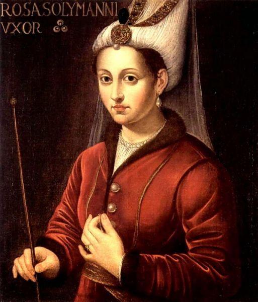 Roxelana, născută Alexandra Anastasia Lisowska şi cunoscută sub titlul turcesc de Hŭrrem Haseki Sultan (turcă hyɾˈɾem haseˈci suɫˈtaːn), (n. 1506 - d. 15 aprilie 1558) a fost concubina, apoi soţia sultanului Otoman, Suleiman Legiuitorul - (16th-century Latin oil painting of Hurrem Sultan titled Rosa Solymanni Vxor) - foto preluat de pe ro.wikipedia.org