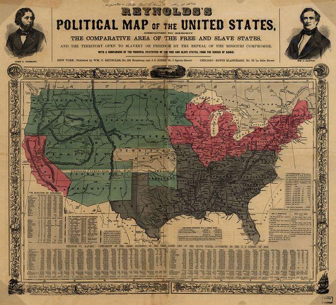 Statele Unite la 1856, cu puţin timp înaintea izbucnirii războiului civil. rosu - Statele libere; gri - Statele sclavagiste; verde -  Teritoriile organizate - foto: ro.wikipedia.org