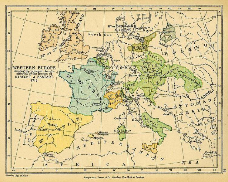 Frontierele din Europa de Vest după tratatele de la Utrecht și Rastatt - foto: ro.wikipedia.org