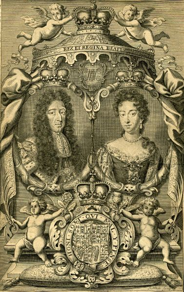 Engraving of William III and Mary II, 1703 - foto: en.wikipedia.org