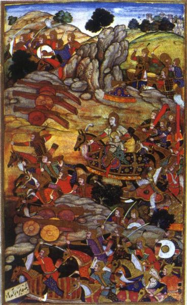 Mughal artillery and troops in action during the Battle of Panipat (1526) - foto preluat de pe en.wikipedia.org