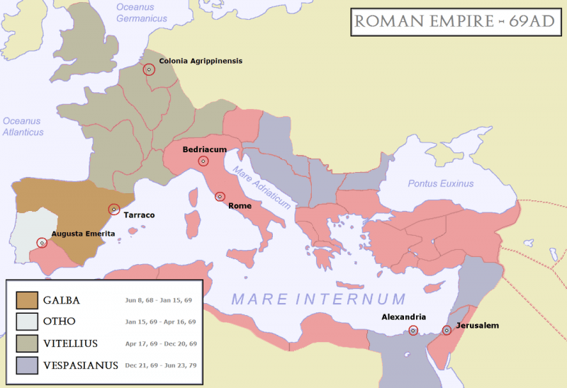 The Roman Empire, 69AD. After the death of Nero, four influential generals successively vied for the imperial throne - en.wikipedia.org