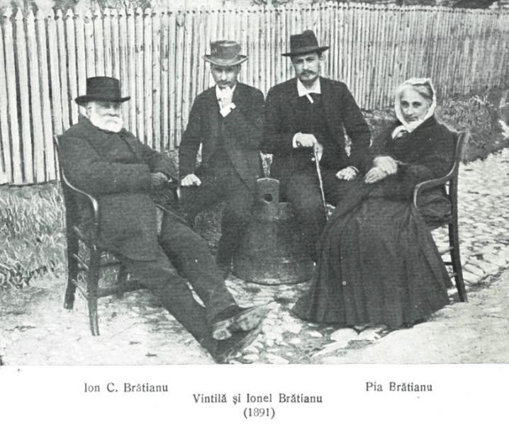 Ion C. Brătianu şi fiii lui, Vintilă şi Ionel Brătianu, în 1891. Toţi trei au ocupat funcţia de prim-ministru al României din partea Partidului Naţional Liberal - foto preluat de pe ro.wikipedia.org