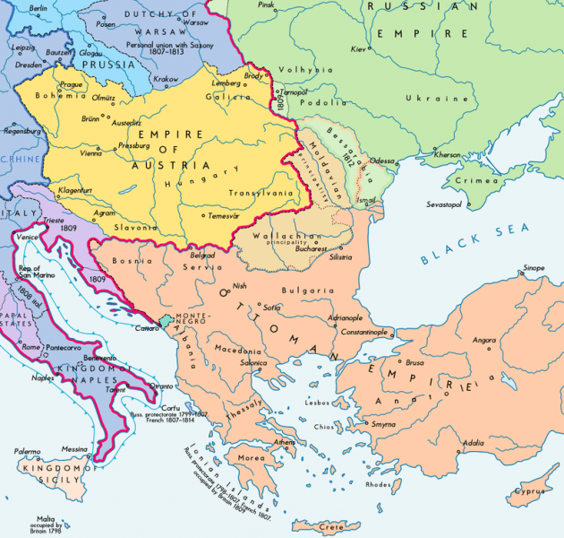 Southeast Europe after the treaty, Bessarabia shown in light green - foto: en.wikipedia.org