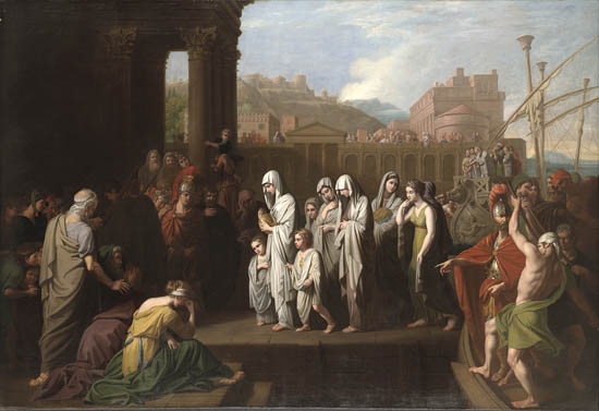 Benjamin West, Agrippina landing at Brundisium with the Ashes of Germanicus (1766), oil on canvas. Yale University Art Gallery, New Haven - foto preluat de pe en.wikipedia.org