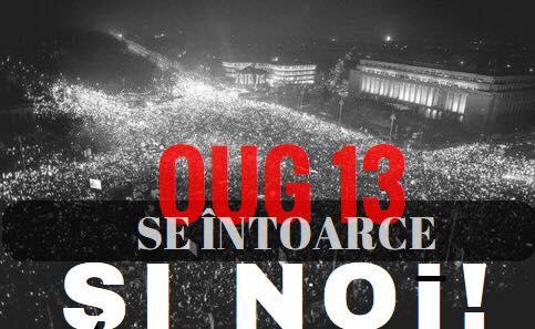 """Protest """"NU gratierii coruptilor - OUG 13 revine. Si noi!"""" - foto: facebook.com"""