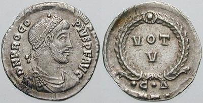 Coin issued by Procopius (usurper) - (n. 326 în Cilicia; d. 27 mai 366) a fost un uzurpator împotriva împăratului Valens. După Ammianus Marcellinus, el era văr de mamă cu Iulian Apostatul -  foto preluat de pe en.wikipedia.org