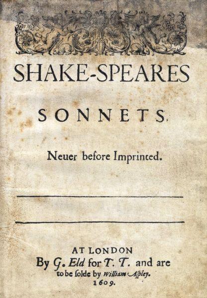 Titlul paginii ediţiei din 1609 a Sonetelor lui Shakespeare - foto preluat de pe ro.wikipedia.org