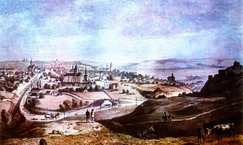 Suceava într-o litografie de la începutul secolului al XIX-lea - foto preluat de pe ro.wikipedia.org