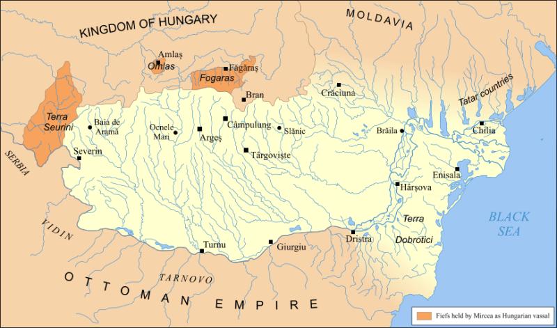 Țara Românească în timpul lui Mircea cel Bătrân (întindere maximă după 1404) - foto preluat de pe ro.wikipedia.org