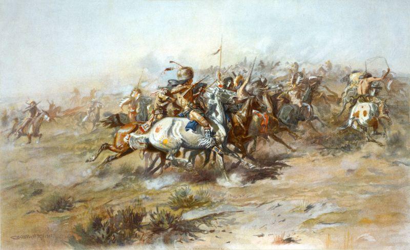 Bătălia de la Little Bighorn (25 şi 26 iunie 1876) - Parte a Marelui război cu tribul sioux - Lupta lui Custer - pictura lui Charles Marion Russell (1903) - foto preluat de pe ro.wikipedia.org