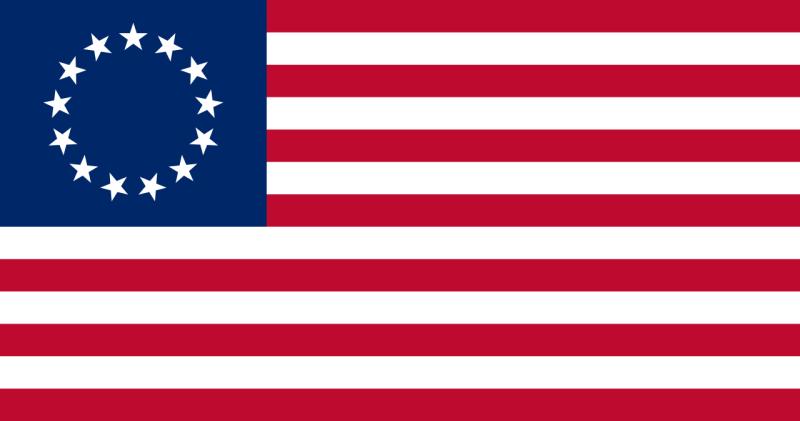 Primul drapel al Statelor Unite (1777) - foto preluat de pe ro.wikipedia.org