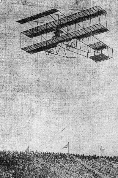 A Farman III flying in 1910 - foto preluat de pe en.wikipedia.org