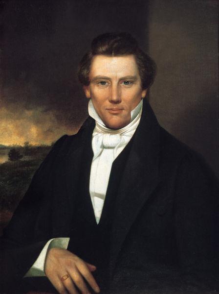 """Joseph Smith, Jr. (n. 23 decembrie 1805 - d. 27 iunie 1844) a fost un lider religios american, care a fondat mișcarea Sfinților din Zilele cele din urmă, cunoscută și drept """"mormonism"""" - foto preluat de pe ro.wikipedia.org"""