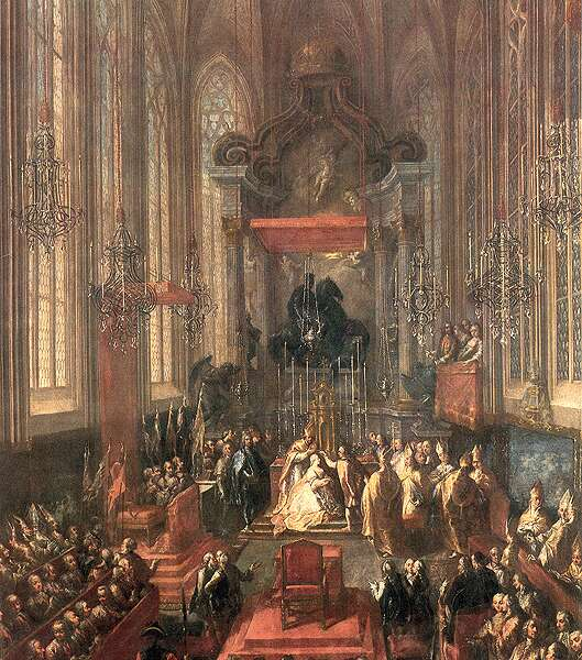 Încoronarea Mariei Tereza ca împărăteasă a Ungariei - foto preluat de pe ro.wikipedia.org