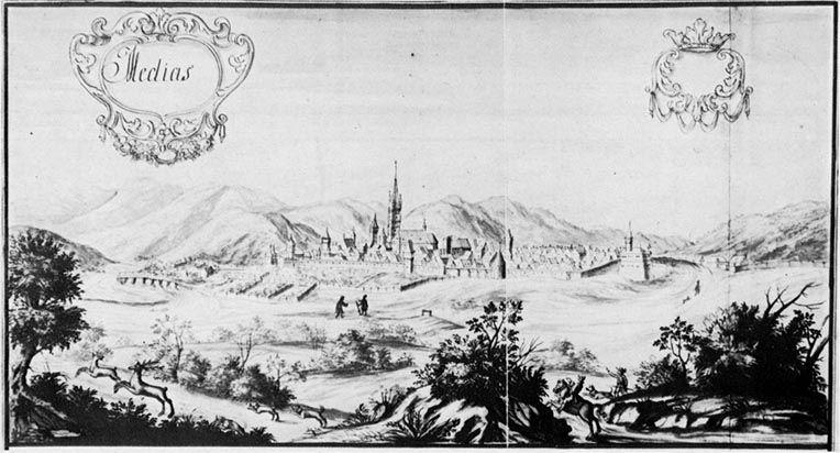 Mediaș (Stampă de epocă din secolul al XVIII-lea (1735). Se pot observa zidurile cetății și Turnul Trompeților) - foto: iubescmediasul.wordpress.com