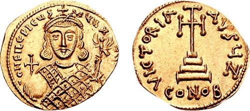 Philippikos Bardanes (Filip) a fost împărat bizantin între 711 - 713 - în imagine, Monedă care celebrează o victorie a lui Philippikos Bardanes - foto: ro.wikipedia.org