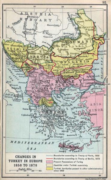 Borders in the Balkan peninsula after the Treaty of Berlin (1878) - foto preluat de pe en.wikipedia.org