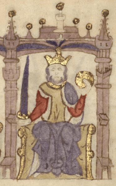 Afonso I al Portugaliei, (n. Viseu, 1109, în mod tradițional 25 iulie – d. Coimbra, 1185, 6 decembrie), cunoscut și drept Cuceritorul, a fost primul rege al Portugaliei, declarându-și independența față de Regatul Leonului - King Afonso in the Castilian manuscript Compendium of Chronicles of Kings (...) (c. 1312-1325) - foto preluat de pe en.wikipedia.org