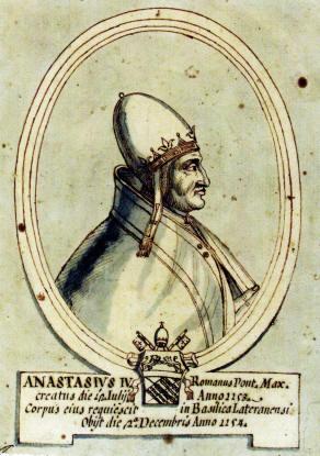 Papa Anastasie al IV-lea (+ 3 dec. 1154); nume laic: Konrad de Suburra sau Corrado della Suburra) a fost din 12 iulie 1153 papă al Romei - foto preluat de pe en.wikipedia.org