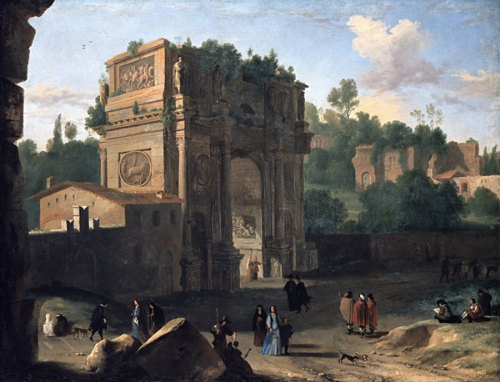 The Arch of Constantine, Rome - painted by Herman van Swanevelt, 17th century - foto preluat de pe en.wikipedia.org