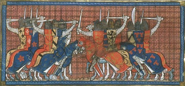 Bătălia de Taillebourg (21 iulie 1242) - Bătălia dintre francezii (Louis IX) și engleza (Henry III). (Biblioteca Britanică, Royal 16 G VI f. 399) - foto preluat de pe en.wikipedia.org