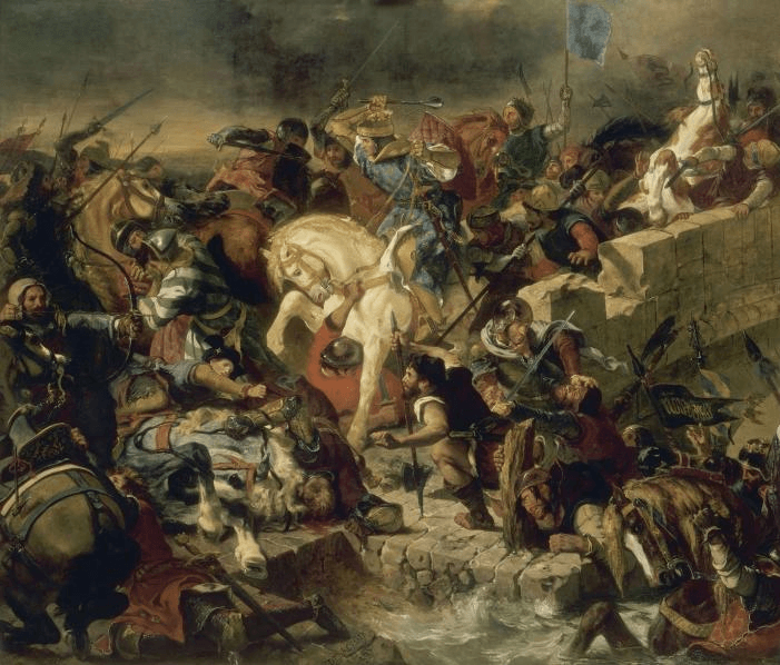 The Battle of Taillebourg won by Saint Louis, by Eugène Delacroix (Galerie des Batailles, Palace of Versailles) - foto preluat de pe en.wikipedia.org