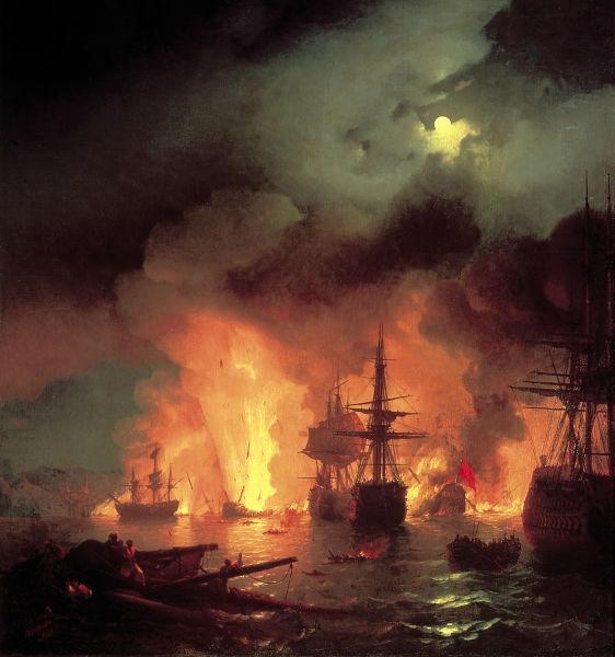 Bătălia de la Chesma (5-7 iulie 1770)  pictură în ulei realizată în anul 1848 de pictorul rus Ivan Aivazovski și dedicată victoriei istorice a Marinei ruse de la Chesma - foto preluat de pe ro.wikipedia.org