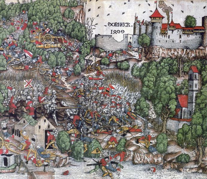 Bătălia de la Dornach (22 iulie 1499) - Contemporary woodcut - foto preluat de pe en.wikipedia.org