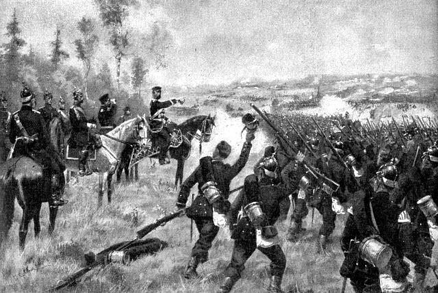 Bătălia de la Königgrätz (3 iulie 1866) - Parte din Războiul Austro-Prusac - Prințul Karl Friedrich conduce cu succes regimentele prusace - foto preluat de pe ro.wikipedia.org