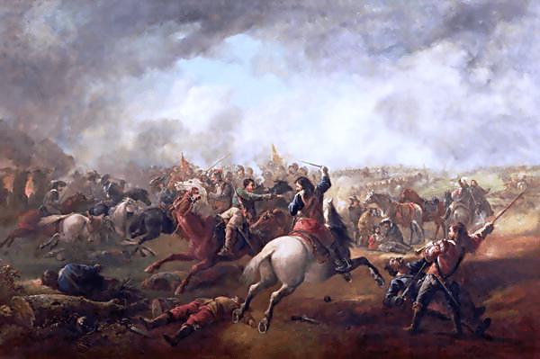Bătălia de la Marston Moor (2 iulie 1644) Parte din Războiului Civil Englez -de J. Barker - foto preluat de pe ro.wikipedia.org