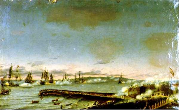 Bătălia de la Santa Cruz de Tenerife (1797) Parte a războaielor revoluționare franceze - Atacul britanic asupra Santa Cruz de Tenerife. Ulei pe panza, 1848 - foto preluat de pe en.wikipedia.org