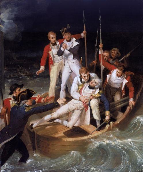 Sir Horatio Nelson rănit în timpul Bătăliei de la Santa Cruz de Tenerife (1797) pictură ulei pe panza de Richard Westall - foto preluat de pe ro.wikipedia.org