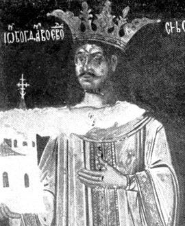 Bogdan al III-lea (n. 18 martie 1479, Huși, România – d. 30 aprilie 1517) a fost domn al Moldovei între 2 iulie 1504 și 20 aprilie 1517 - Bogdan al III-lea, frescă, Biserica Sfântul Nicolae Domnesc din Iași - foto preluat de pe ro.wikipedia.org
