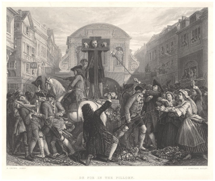 Daniel Defoe in the pillory, 1862 line engraving by James Charles Armytage after Eyre Crowe - foto preluat de pe en.wikipedia.org
