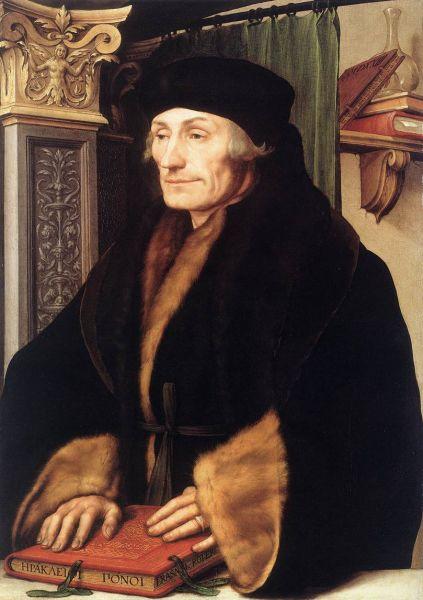 """Erasmus (Desiderius) din Rotterdam (n. 28 octombrie 1466, 1467 sau 1469, Rotterdam/Olanda, d. 12 iulie 1536, Basel/Elveţia)[6] a fost un teolog şi erudit olandez, unul din cei mai însemnaţi umanişti din perioada Renaşterii şi Reformei din secolele al XV-lea şi al XVI-lea, catalogat drept """"primul european conştient"""", de către Stefan Zweig - (Erasme retratat per Hans Holbein el Jove) - foto preluat de pe ro.wikipedia.org"""