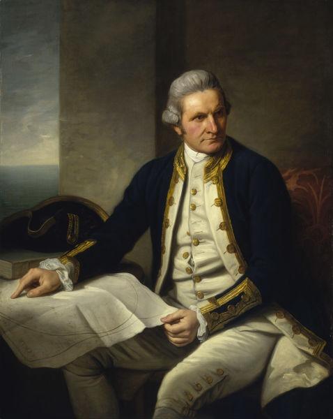 James Cook (n. 7 noiembrie 1728 - d. 14 februarie 1779) a fost un explorator, navigator şi cartograf englez ce a ajuns la rangul de căpitan în Marina Regală - portret de Nathaniel  Dance-Holland, circa 1775, expus la  Muzeul Maritim Naţional din Greenwich - foto preluat de pe ro.wikipedia.org