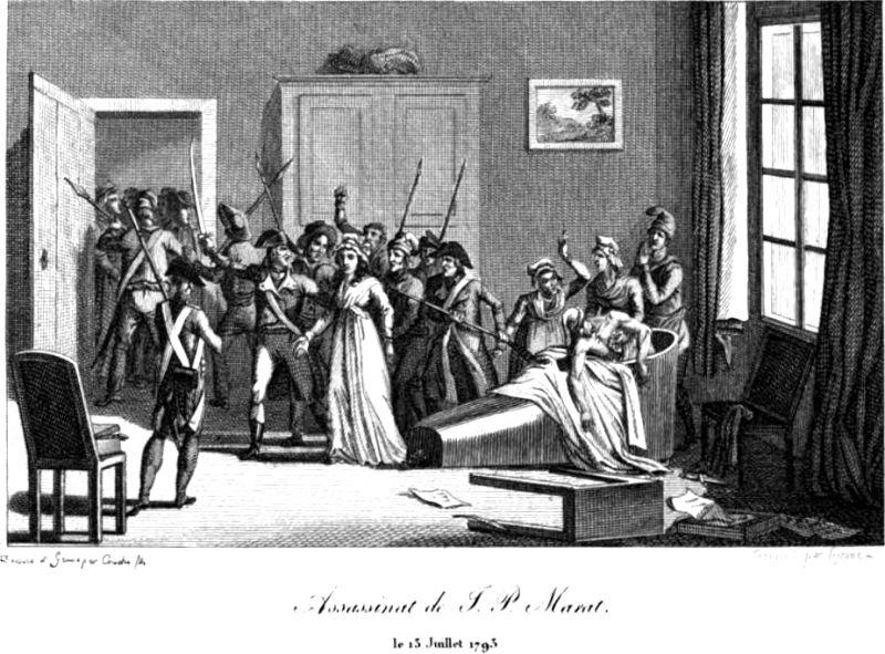 The assassination of Marat by Charlotte Corday on 13 July 1793 - foto preluat de pe en.wikipedia.org