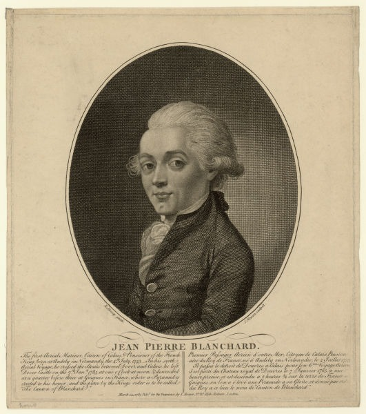 Jean-Pierre Blanchard (4 July 1753 – 7 March 1809) was a French inventor, best known as a pioneer in balloon flight, engraving after a portrait by Richard - Livesay - foto preluat de pe en.wikipedia.org