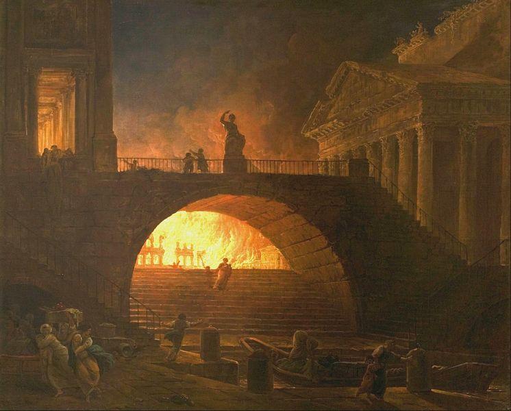 Marele incendiu din Roma -18 iulie 64 - (autor: Hubert Robert, 1733–1808), Musée des Beaux Arts André Malraux, Le Havre, Franţa - foto preluat de pe ro.wikipedia.org
