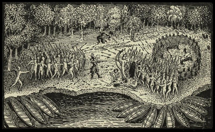 Engraving based on a drawing by Champlain of his 1609 voyage. It depicts a battle between Iroquois and Algonquian tribes near Lake Champlain - foto preluat de pe en.wikipedia.org